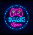 game room neon sign design vector image vector image