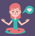 Girl Meditading Thinking about Love vector image vector image