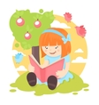 Girl reading book vector image vector image