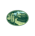 Grapes Vineyard Winery Oval Woodcut vector image vector image
