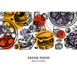 hand drawn food delivery vintage background for r vector image vector image