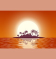 hot tropical island with palm trees vector image