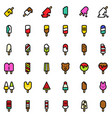 ice pop icon set filled style editable outline vector image