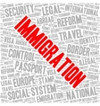 Immigration word cloud vector image vector image