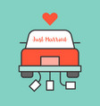 just married sign on wedding car vector image vector image