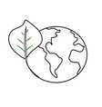 line global earth planet with leaf symbol to vector image vector image