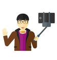 Man making selfie vector image vector image