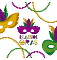 mardi gras poster with several carnival mask vector image vector image
