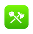 medieval axe and mace icon green vector image