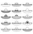 Mexico sombrero hat variations outline icons set vector image