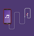 mobile phone with earphones vector image vector image