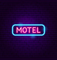 motel neon label vector image vector image