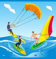 open sea surfing composition vector image vector image