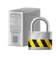padlock and gray case of computer of designer on vector image vector image