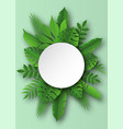 paper tropical leaves papercut summer beach vector image