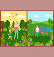 people leisure in park flowers and trees vector image vector image
