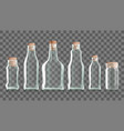 realistic transparent clear bottle with cork vector image vector image