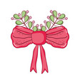 red bow ribbon tape with leafs vector image vector image