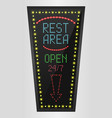 retro sign with blue lights and the word rest area vector image vector image