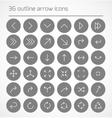 set outline arrow icons vector image vector image