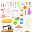 sewing tailor tools sew needle thread vector image