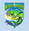 shirt design mahi mahi fishing vector image vector image