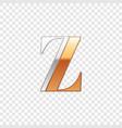 silver and gold font symbol alphabet letter z vector image vector image