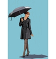 the girl with an umbrella in rain vector image vector image