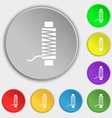 Thread Icon sign Symbol on eight flat buttons vector image vector image