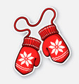 two christmas red mitten with snowflake pattern vector image