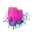 watercolor background with drums vector image vector image