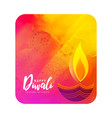 watercolor diwali greeting with artistic diya vector image vector image