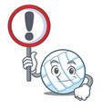 with sign volley ball character cartoon vector image