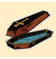 wooden coffin with Christian cross label sticker vector image
