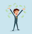 a businessman is delighted with his hands up vector image vector image