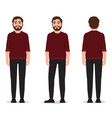 a man with a beard and dressed in a red sweater vector image vector image