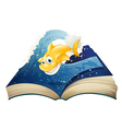 An open storybook with a smiling shark vector image vector image