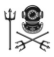 ancient diving helmet with tridents objects vector image
