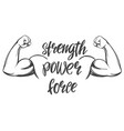arm bicep strong hand icon cartoon calligraphic vector image