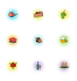 Autumn festival icons set pop-art style vector image vector image