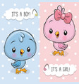 baby shower greeting card with birds boy and girl vector image