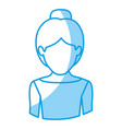blue silhouette with half body of faceless female vector image vector image