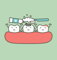 brushing teeth - tooth cleaning their friend vector image vector image