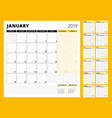 calendar planner for 2019 year stationery design vector image