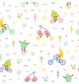 cartoon cute fruits on bicycles vector image vector image