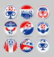 circle football stickers red and blue vector image vector image