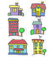 colorful house set art doodles vector image vector image