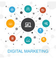 digital marketing trendy web concept with icons vector image