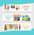 flat shopping horizontal banners vector image vector image