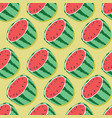 fruit seamless pattern watermelon halves vector image